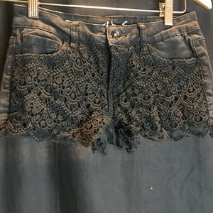 Black Lace Jean Shorts